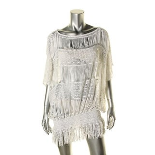 Trina Turk Womens Lace Fringe Swim Top Cover-Up - XS
