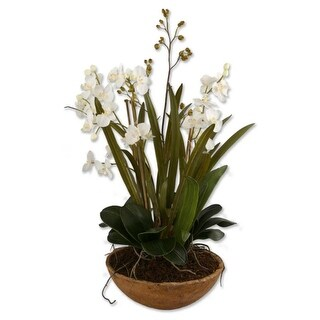 "34"" White Moth Orchid Potted Artificial Floral Arrangement"
