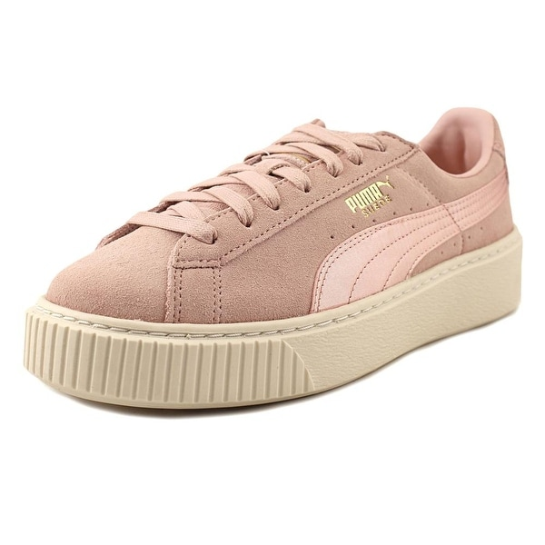online store 872d3 c06e0 Shop Puma Platform Mono Satin Women Round Toe Suede Pink ...