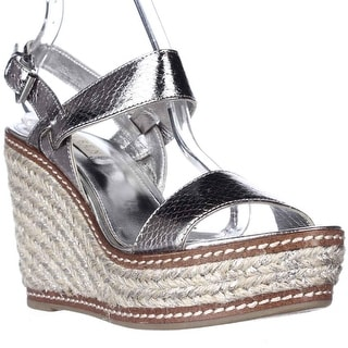 Lauren Ralph Lauren Serana Wedge Espadrille Sandals - New Silver