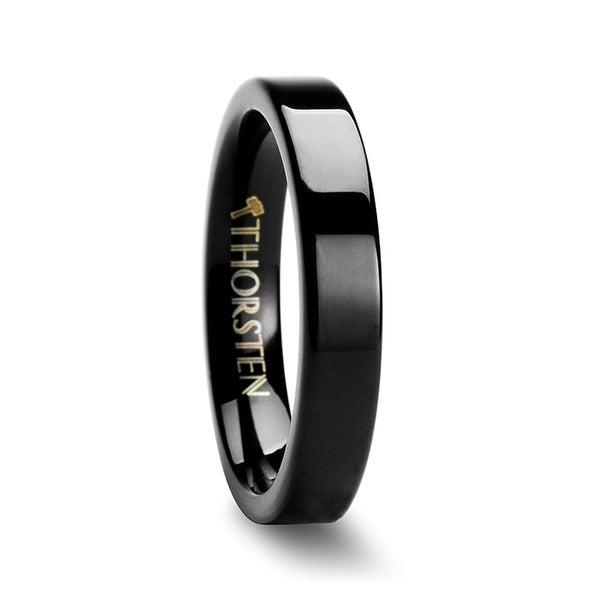 THORSTEN - BELLONA Black Flat Tungsten Carbide Wedding Band - 4mm