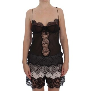 Dolce & Gabbana Black Silk Lace Babydoll Lingerie Top
