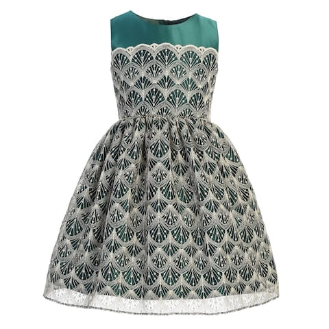 Sweet Kids Girls Green Silver Detail Overlay Tea Length Christmas Dress