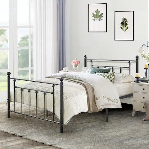 VECELO Victorian Metal Platform Bed