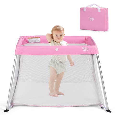 Costway Portable Baby Playpen Playard Lightweight w/ Travel Bag For