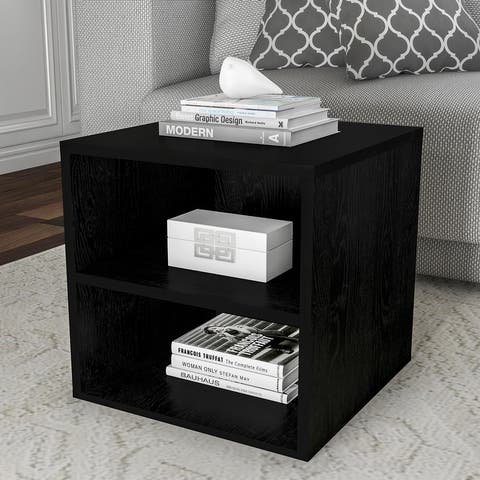 """Hastings Home 2-Shelf Cube End Table - 15.75"""" x 15.75"""" x 15.75"""""""