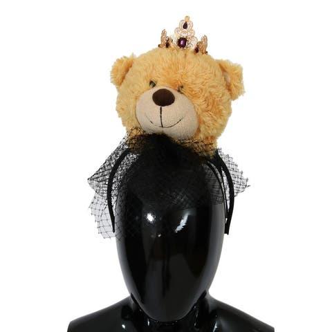 Dolce & Gabbana Brown Teddy Bear Gold Crystal Women's Diadem - One Size
