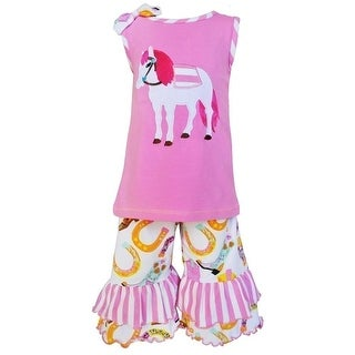 AnnLoren Little Girls Pink Pony Boot Stripe Print Ruffle Capri Outfit