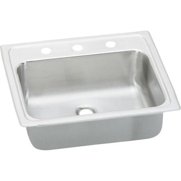 Elkay Celebrity 19-In 20 Gauge Stainless Steel Single-Bowl Drop-In Bathroom Sink - Three holes. Opens flyout.