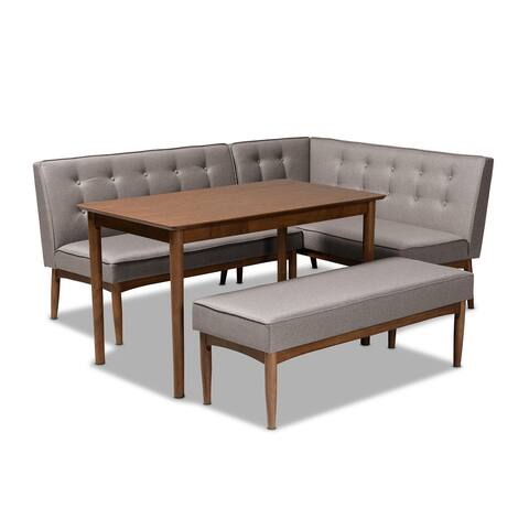Arvid Mid-Century Modern Gray Fabric Upholstered 4-Piece Wood Dining Nook Set