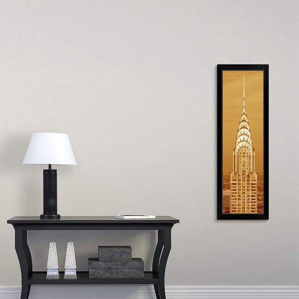 """""""Sepia tone close up of the Chrysler Building at sunset, NYC"""" Black Framed Print"""