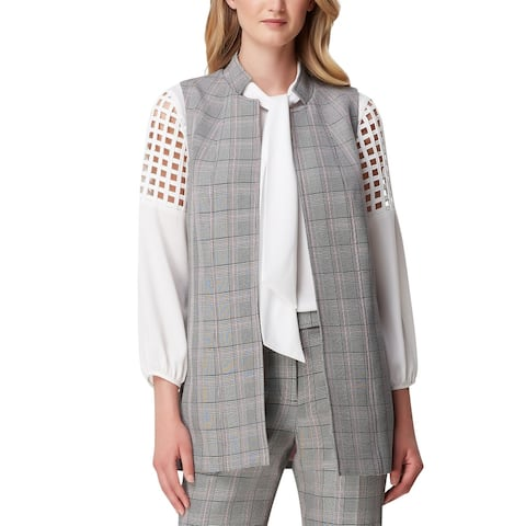 Tahari By ASL Womens Vest Gray Multi Size 16 Long Plaid Open-Front