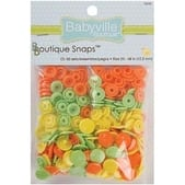 Solid - Green; Yellow & Orange - Babyville Boutique Snaps Size 20 60/Pkg