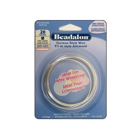 Beadalon German Style Wire Sq F 20ga Slv Plt 2M