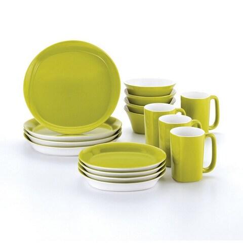 Rachael Ray Dinnerware Round and Square 16-Piece Dinnerware Set Green