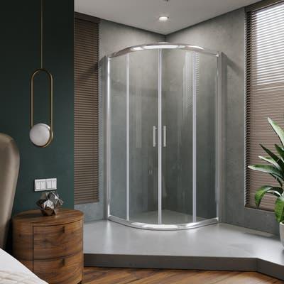 ELEGANT 38 x 72 Neo-Round Corner Sliding Shower Door