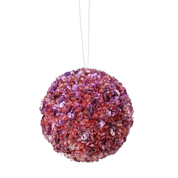 Lavish Purple Lilac Fully Sequined & Beaded Christmas Ball Ornament 4.25""