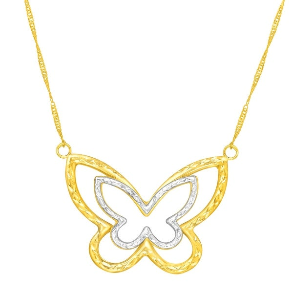 Just Gold Butterfly Necklace in 14K Two-Tone Gold