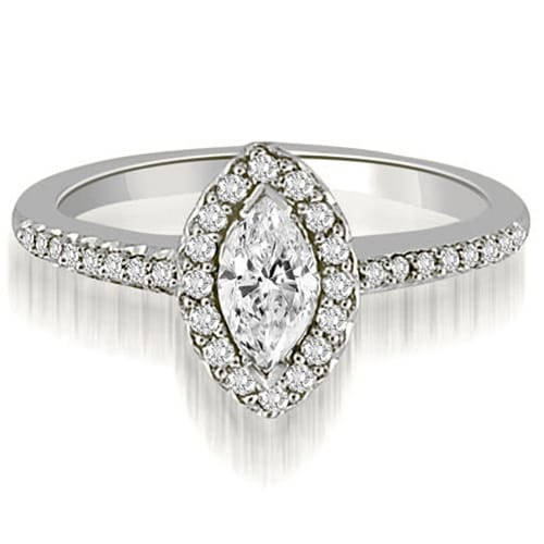 0.80 cttw. 14K White Gold Halo Marquise And Round Cut Diamond Engagement Ring