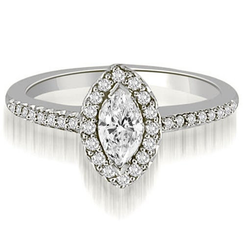 1.30 cttw. 14K White Gold Halo Marquise And Round Cut Diamond Engagement Ring