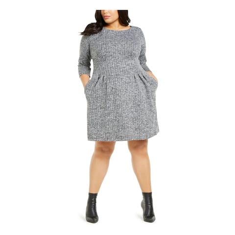 CONNECTED APPAREL Gray 3/4 Sleeve Above The Knee Dress 18W