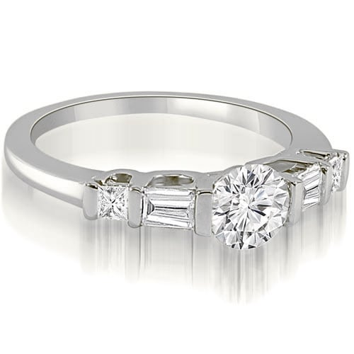 1.00 cttw. 14K White Gold Round and Baguette Cut U-Bar Diamond Engagement Ring