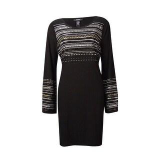 Alfani Women's Stud Embellished Jersey Shift Dress - Deep Black