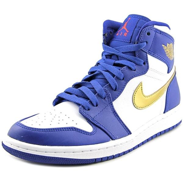 Jordan Air Jordan 1 Retro High Men Round Toe Leather White Basketball Shoe