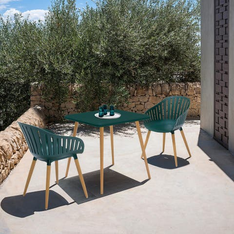 Nassau Outdoor 3 Piece Eucalyptus Dining Set