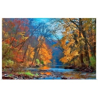 Poster Print entitled Fall colors in early November along Wissahickon Creek in Fairmount Park. - multi-color