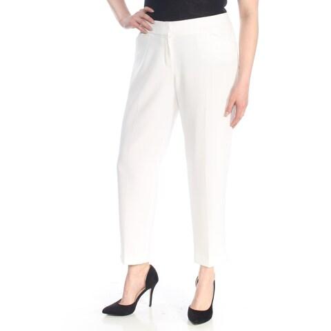 KASPER Womens White Straight leg Wear To Work Pants Size: 16