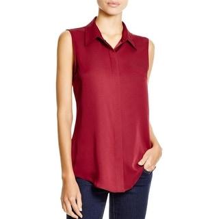 Theory Womens Tanelis Button-Down Top Silk Collar