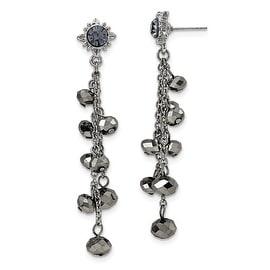 Silvertone In/Out White Crystal Hoop Earrings