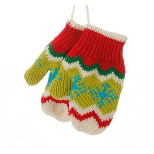 "5"" Merry & Bright Green, White and Red Knit Pair of Mittens Christmas Ornament"