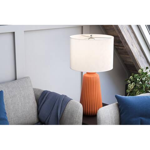 "Nico 26.75"" Glossy Orange Ceramic Table Lamp"