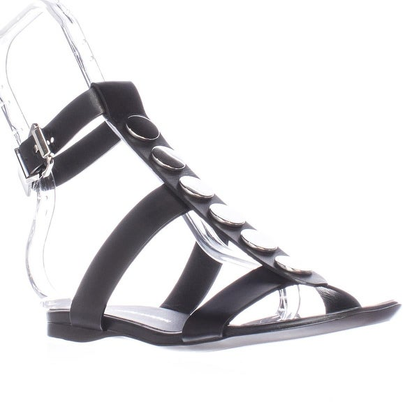 CoSTUME NATIONAL 1160740 Flat Ankle Strap Sandals, Nero/Black - 6 us / 36 eu