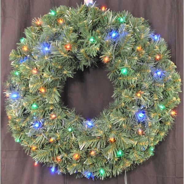 Christmas at Winterland WL-GWSQ-02-L4M-BAT 2 Foot Pre-Lit Battery Operated Multicolor LED Sequoia Wreath - N/A