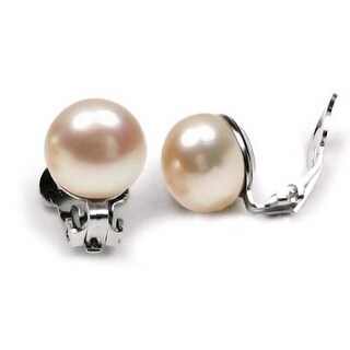 Bling Jewelry Sterling Silver Pink Button Freshwater Cultured Pearl Clip On Earrings