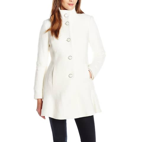 Kensie Womens Coat Ivory White Size Large L Stand Collar Button Up