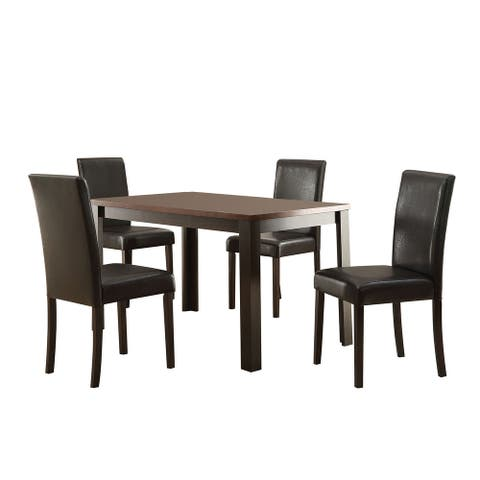 5 Piece Wooden Dining Set with Leatherette Upholstery, Brown and Black