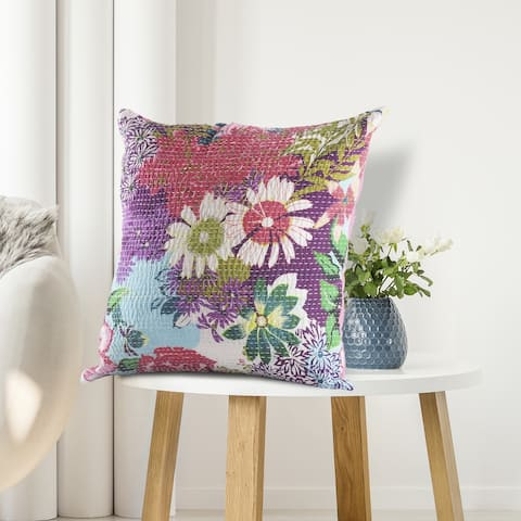 LR Home Floral Garden Kantha Throw Pillow 20 Inch
