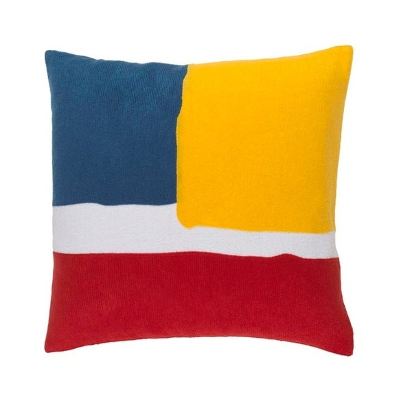"22"" Red, Blue, Yellow and White Decorative Throw Pillow – Down Filler"