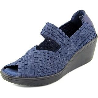Baretraps Umma Women  Open Toe Canvas Blue Wedge Sandal
