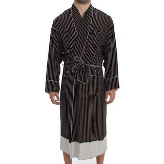Dolce & Gabbana Dolce & Gabbana Brown Silver SILK Robe Sleepwear Nightgown