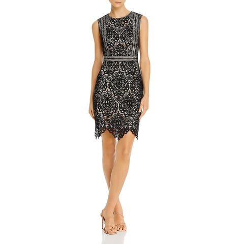 Aidan by Aidan Mattox Womens Mini Dress Lace Overlay Cocktail - Black Nude