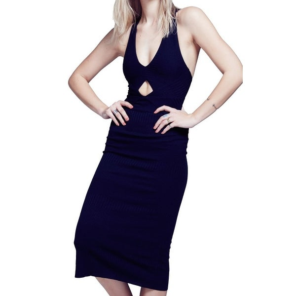c8163d00af9 Shop Free People NEW Navy Blue Womens Size XS Keyhole Ribbed Sheath ...