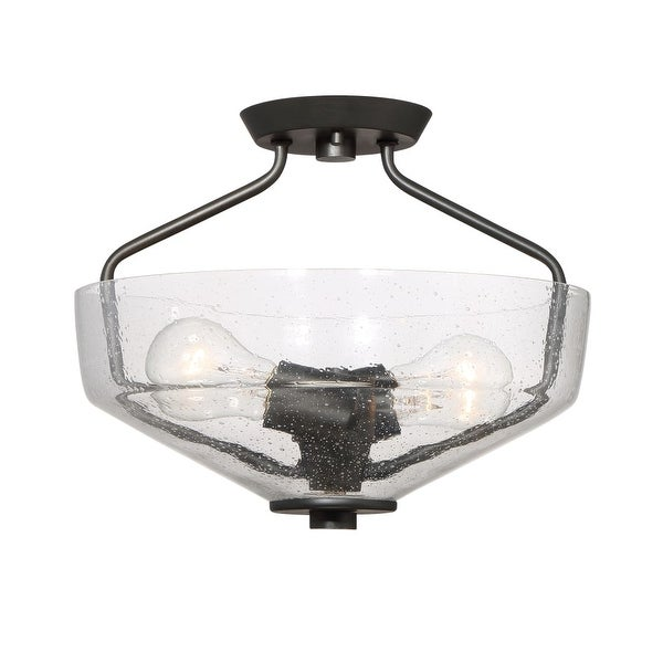Designers Fountain 88011 Printers Row 2-Light Semi-Flush Mount Ceiling Fixture with Clear Seedy Glass Shade