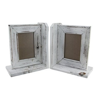 Rustic Distressed White Wooden Bookend Set w/4x6 inch Photo Frame