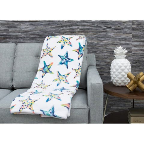 50x70 Staffi Starfish Printed Loft Fleece Decorative Throw