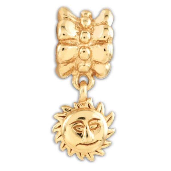 Sterling Silver Reflections Gold-plated Sun Dangle Bead (4mm Diameter Hole)